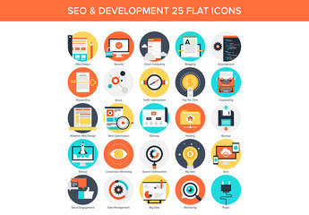 25 Circular SEO and Content Icons
