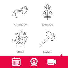 Achievement and video cam signs. Hammer, scarecrow and watering can icons. Gloves linear sign. Calendar icon. Vector