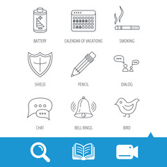 Battery, pencil and protection shield icons. Dialog chat, bell rings and vacation calendar linear signs. Bird, smoking allowed icons. Video cam, book and magnifier search icons. Vector