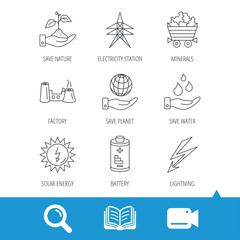 Save nature, planet and water icons. Minerals, lightning and solar energy linear signs. Battery, factory and electricity station icons. Video cam, book and magnifier search icons. Vector