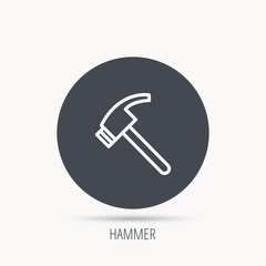 Hammer icon. Repair or fix tool sign. Round web button with flat icon. Vector