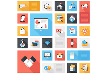 Flat Business and Development Grid Illustration