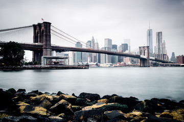 Long exposure of Brooklyn Bridge and Lower Manhattan, New York