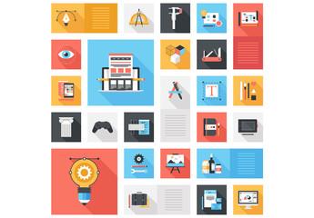 Flat Creativity and Design Grid Illustration