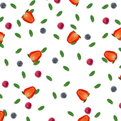 summer berry pattern mint strawberries blueberries cranberries isolated on white background top view of a flat style