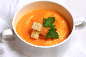 pumpkin soup with garlic croutons top view