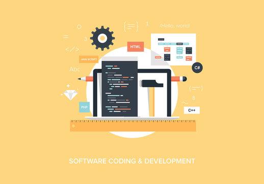 Flat Software Coding and Development Illustration