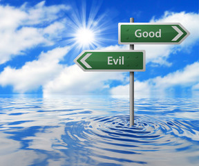 Flooded Traffic Sign - Good/Evil