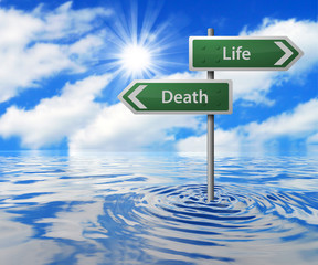 Flooded Traffic Sign - Life/Death