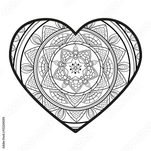 Vector illustration of a mandala heart for coloring book cuore mandala vettoriale da colorare - Mandala de coeur ...