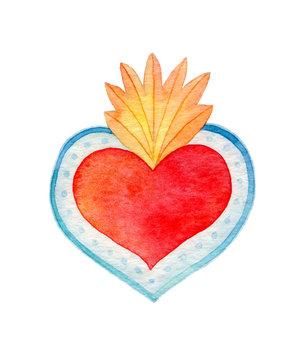 Sacred heart. Watercolor illustration