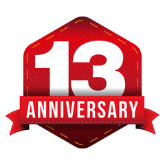 Thirteen year anniversary badge with red ribbon