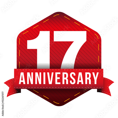 Seventeen year anniversary badge with red ribbon quot stock image and