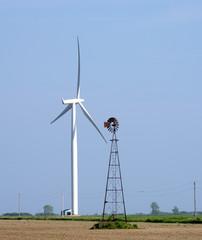 Old Windmill and New Windturbine