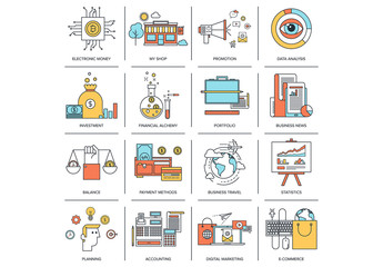 16 Outlined Shopping and Business Icons 2