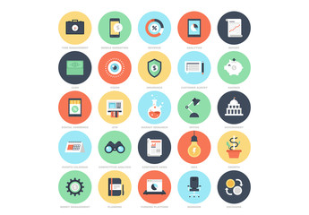 25 Circular Business and Finance Icons 4