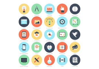 25 Flat Circular Web Design Icons