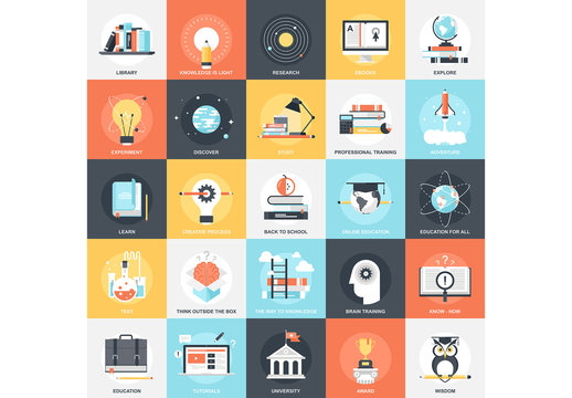 25 Flat Square Education and Learning Icons