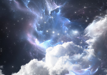 Space background with nebula and stars. Illustration, for use with projects on science, research, and education.