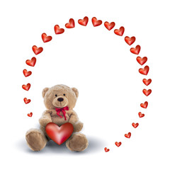 red heart and a teddy bear