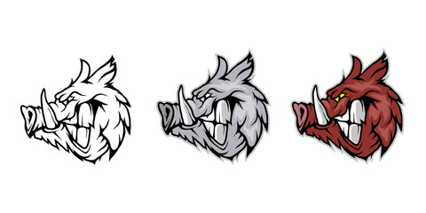 Wild Boar, isolated on white background, colour and black white illustration, suitable as logo or team mascot
