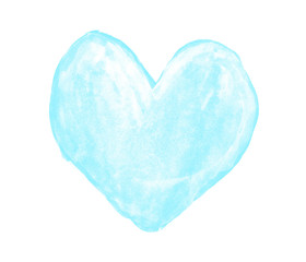 Light blue heart painted with gouache