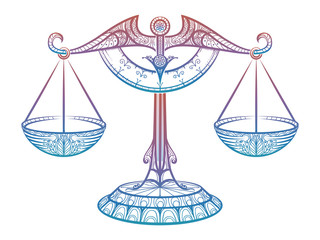 Colorful Justice scales or Zodiac sign of Libra zentangle style design. Vector illustration