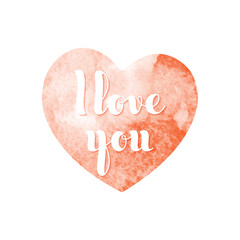 Watercolor red heart with inscription I love you in hand-writing style. Vector illustration.