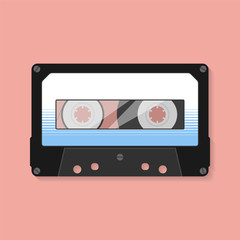 Compact cassette. Flat design style