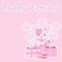 Birthday illustration with cute pink cat with birthday gifts on pink background suitable for birthday girl invitation card, greeting card, and postcard