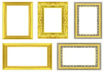 collection golden frame isolated on white background