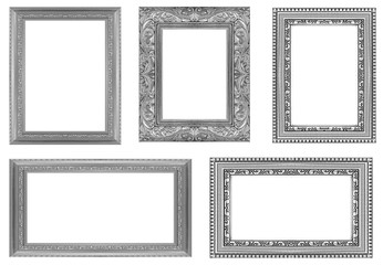 collection gray frame isolated on white background