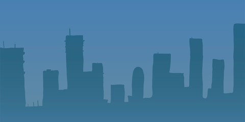 Vector illustration. Blue skyscrapers.
