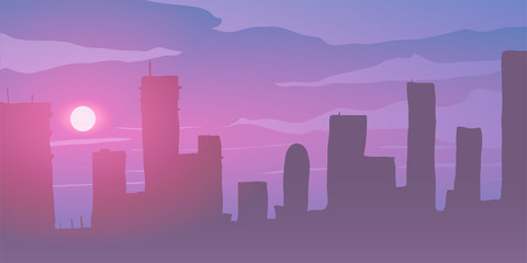 Vector illustration. Skyscrapers on pink sunset.