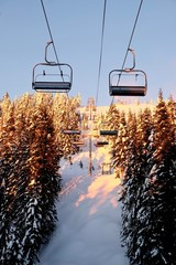 Chair lift in ski area. Grouse Mountain. North Vancouver. British Columbia. Canada.