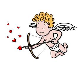Love cupid holding a heart-shaped arrow vector cartoon illustration