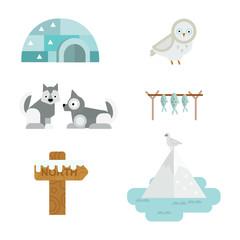 Wild north arctic symbols vector.