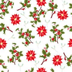 Christmas berry flower vector seamless pattern.