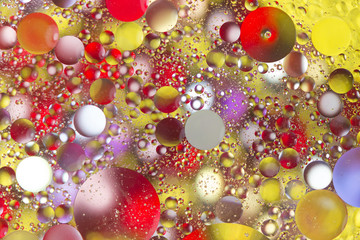 Colorful bubbles in oily water