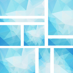 Set of banner templates with abstract background. Modern vector banners with polygonal background. Blue, white colors.