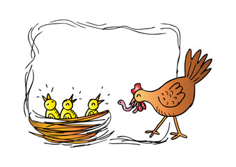 Mother hen and chicks. Hand drawing illustration.