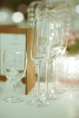 wine glass setup on the table in luxury dinner party, Blurry bac