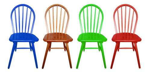 Wooden chair isolated - colorful