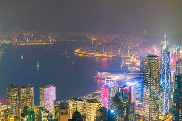 Aerial Hong Kong Skyline Cityscap.