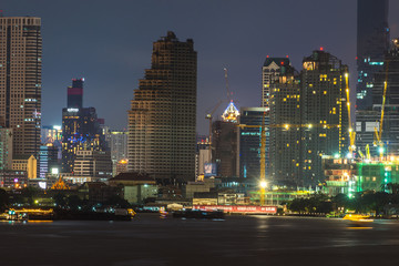 a view over the big asian city of Bangkok , Thailand at nighttim