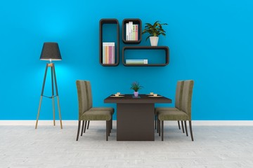 Blue room with table and chairs. Scandinavian interior design