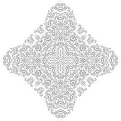 Oriental vector pattern with light silver arabesques and floral elements. Traditional classic ornament. Vintage pattern with arabesques