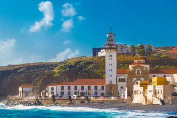 Wall Mural - Basilica of Candelaria and pebble beach in Tenerife Canary Islands, Spain