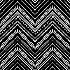 Hand drawn Zigzag and stripe pattern. Vector illustration for tribal design. Black and white colors. Ethnic theme