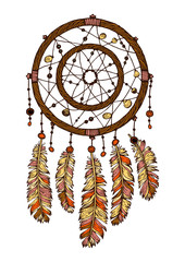Colorful hand drawn dreamcatcher with ethnic feathers